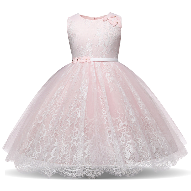 Pink   Dress   For Children Wedding Prom Party Costume Kids Clothes Tulle   Flower     Girls     Dresses   Infantil Vestido Boutique Ball Gowns