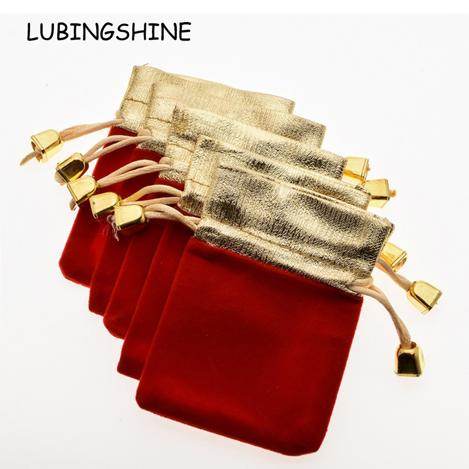 970ead728a13 LUBINGSHINE 5 pcs/lot Velvet Black Red Blue Jewelry Gift Bags Strap  Drawstring Candy Pouches Wholesale Jewellery Packaging