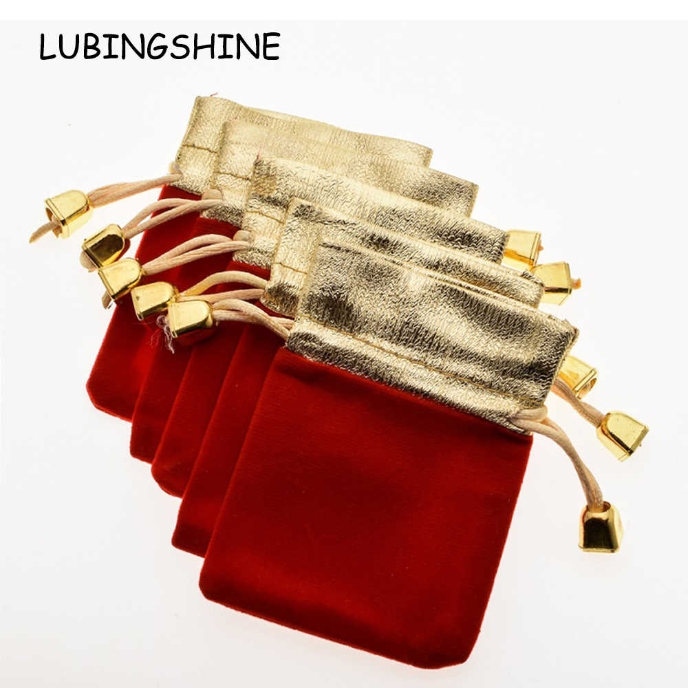 Wholesale Velvet Jewelry Pouches Lubingshine 5 Pcs Lot Velvet Black Red Blue Jewelry Gift Bags Strap Drawstring Candy Pouches Wholesale Jewellery Packaging