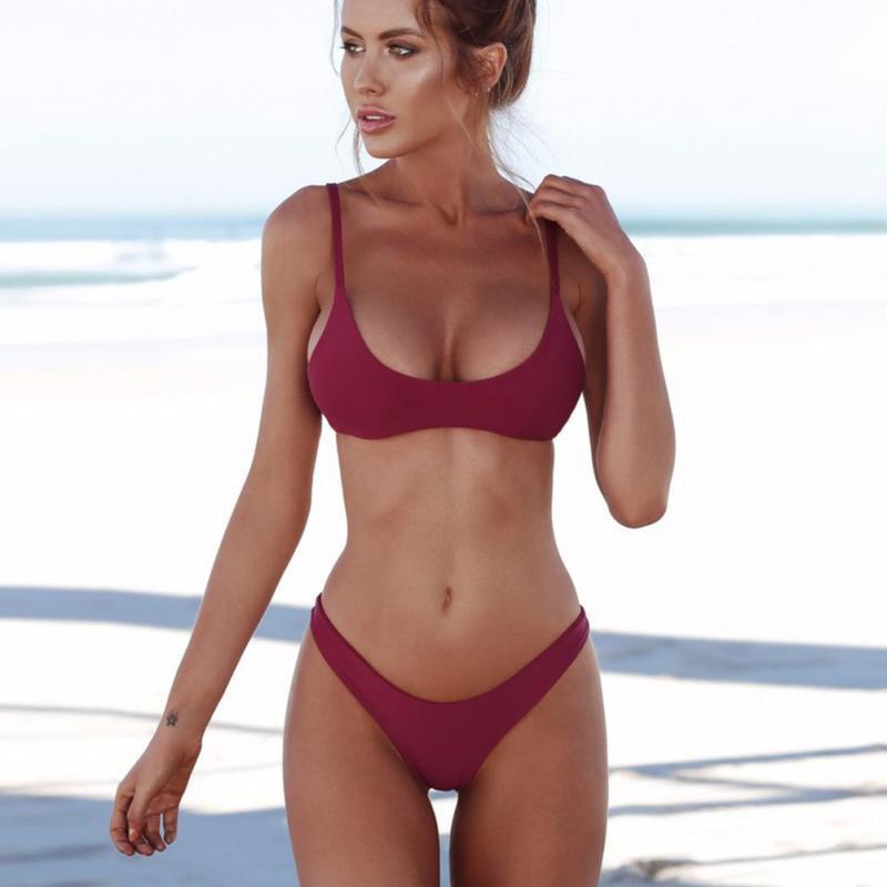 HTB1pGTSX8Cw3KVjSZFlq6AJkFXaM 2019 New Summer Women Solid Bikini Set Push-up UnPadded Bra Swimsuit Swimwear Triangle Bather Suit Swimming Suit biquini