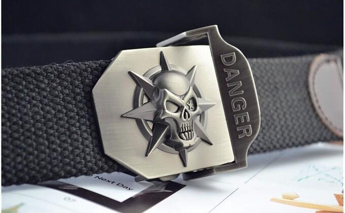 Fashion men's Canvas belt skull Metal tactics woven belt canvas belt Casual pants Cool wild gift for men belts Skull large size 7