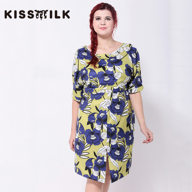 KISSMILK plus size summer western style fashion loose print flowers  backless Large Size 3XL-6XL woman s Casual slits dress 8c4ceaf82154