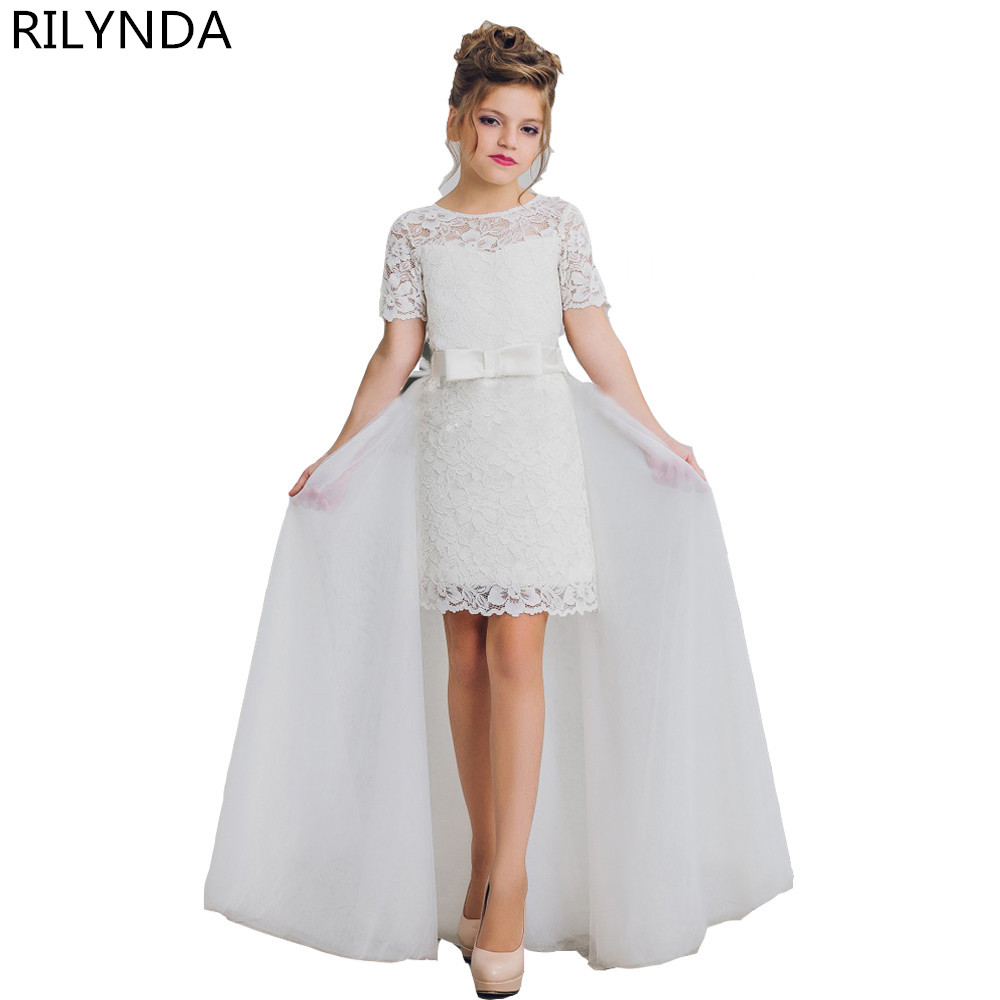 Arrival Flower Girl Dresses A-Line Knee Length Half Sleeves Sheer Tulle Pageant Communion Gown with Train for Weddings royal blue ankle length sheer lace beaded flower girl dress a line kids graduation evening gown with sleeves sash for communion