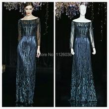 2017 Dark Blue Vestidos Sequins Lace Sheath font b Evening b font Gowns Shiny Floor Length