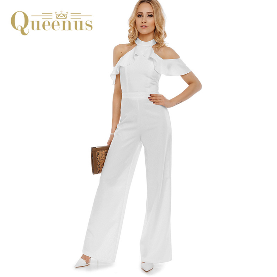 Queenus 2017 Summer Women Jumpsuits Halter Sleeveless Wide Leg Elegant Business Jumpsuit Off ...