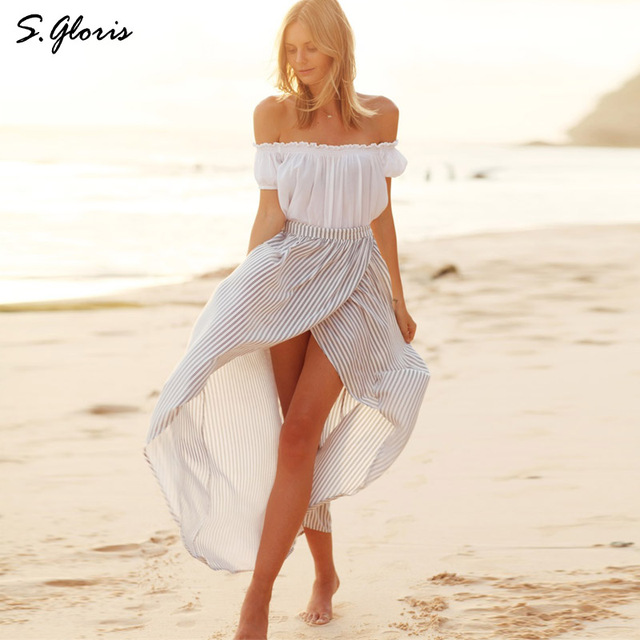 S.gloris Elegant 2 Piece Suit White Off Shoulder Puff Sleeve Top And Striped Wrap Maxi Skirt Set Chic top Summer Women Vestidos