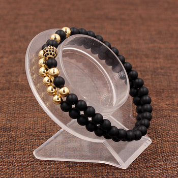 Fashion 2PCS/Set 6mm Black Matte Stone Copper Bead Bracelet Elastic Rope Bead CZ Ball,Leopard,Skull,Crown Bracelet For Men Women 4