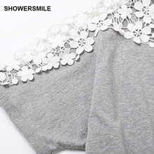 SHOWERSMILE Brand Clothing Tshirt Mini Dress Fashion Plus Size Summer Dress Womens Embroidering Designs Short Sleeve Cotton