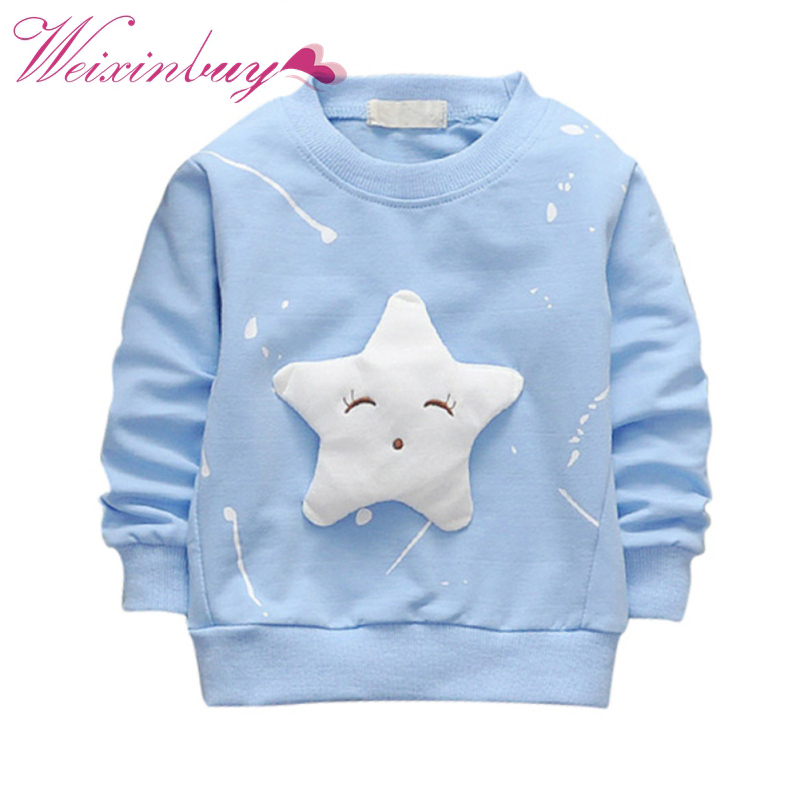 2017 Children's Spring Autumn Cotton Long Sleeve Sweatshirt Star Pattern Casual Pullover Kids Boys Girls Clothing