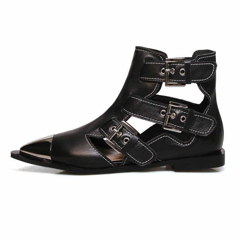 AIWEIYi Kadın Inek Deri Yaz Çizmeler Metal ayak Sivri Burun yarım çizmeler Siyah Beyaz Kesme Toka Kayış Yaz Sandalet