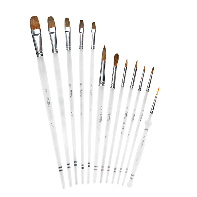 12 Pcs סמור שיער ארוך אורגני מוט אמן סט מברשת צבע אקריליק שמן ציור בצבעי מים אספקת מקצועי אספקת אמנות