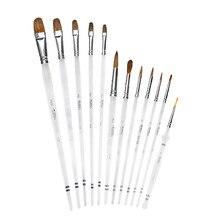 12 adet çakal saç uzun organik çubuk sanatçı boya fırçası seti akrilik yağlıboya suluboya malzemeleri profesyonel sanat malzemeleri