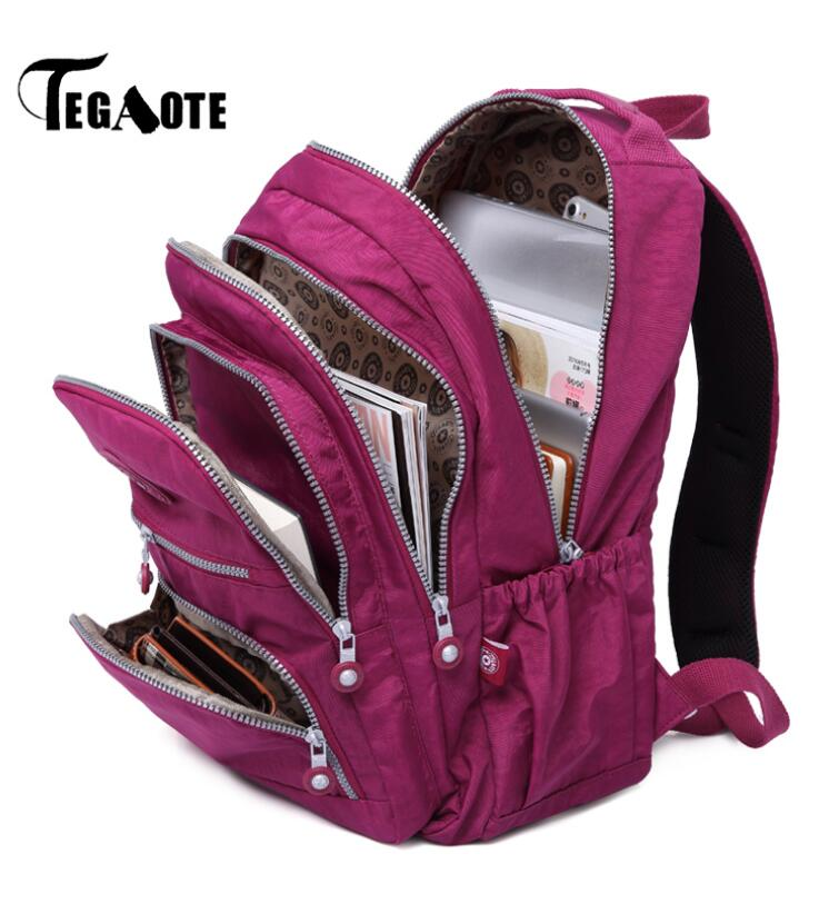 TEGAOTE School Backpack for Teenage Girl Nylon Waterproof Women Backpacks Casual Laptop Bagpack Mochila Feminina Female Sac A Do tegaote nylon waterproof school backpack for girls feminina mochila mujer backpack female casual multifunction women laptop bag