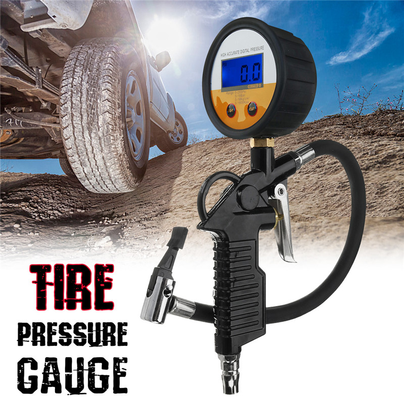 1Pcs Car Digital Tire Pressure Gauge with Air Tire Inflator 220Psi Car Truck Air Tire Pressure Inflator Gauge Tools professional 8mm tire pressure gauge w michelin pattern black silver yellow