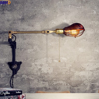 IWHD American Antique Vintage Wall Lamp Art Iron Adjsutable Swing Long Arm Wall Light LED Industrial Appliques Pared