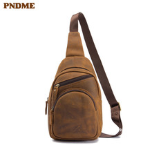PNDME genuine leather mens chest bag simple retro crazy horse  messenger bags casual handmade cowhide sports phone