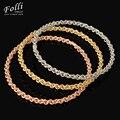 Folli 3 Pieces Moda Dubai Banhado A Ouro Bangle Trendy Tri Tons Cheio Casamento Nigeriano Beads Africanos conjunto de Jóias Bijoux Dubai 68 MM