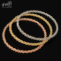 Folli 3Pieces Fashion  Dubai Gold Plated Bangle Trendy Tri Tones Filled Nigerian Wedding African Beads Jewelry Bijoux Dubai 68MM