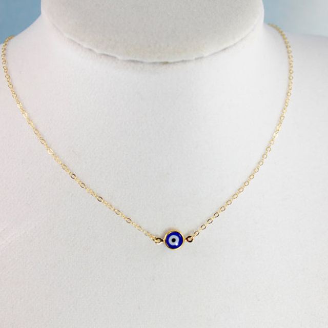 Evil Eye Necklaces Gold Blue Eyes Jewelry Simple Womens Girls XL407 ... ea33e5ca41