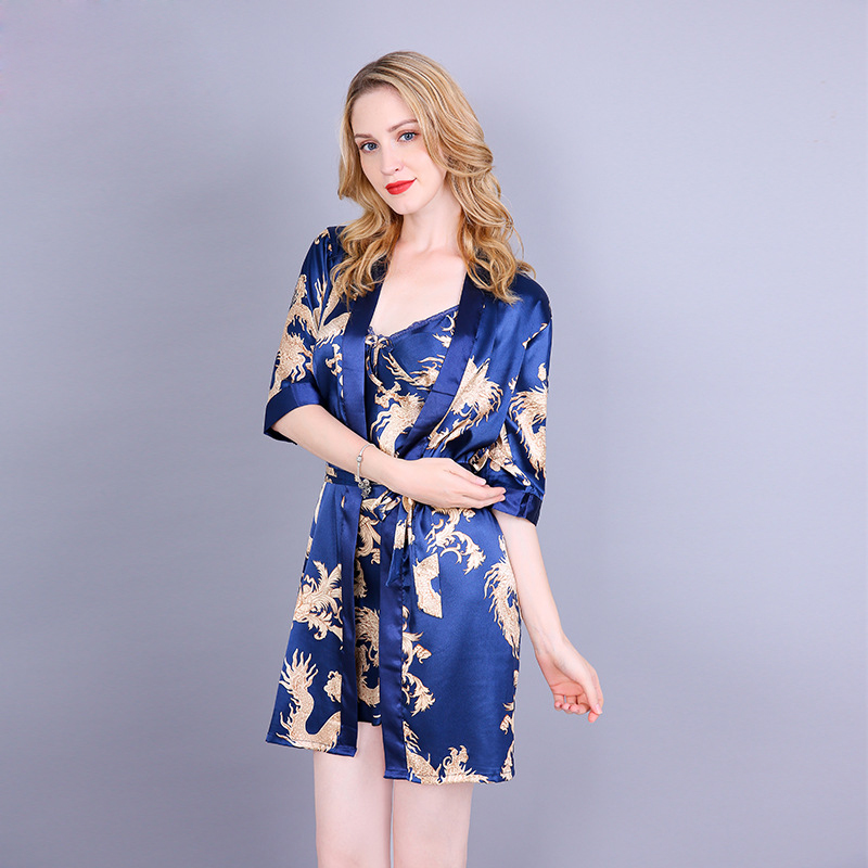 Красный женский Сексуальный Атласный Костюм-двойка, китайский винтажный комплект с принтом дракона, ночная рубашка женское нижнее белье халат из искусственного шелка m-xl