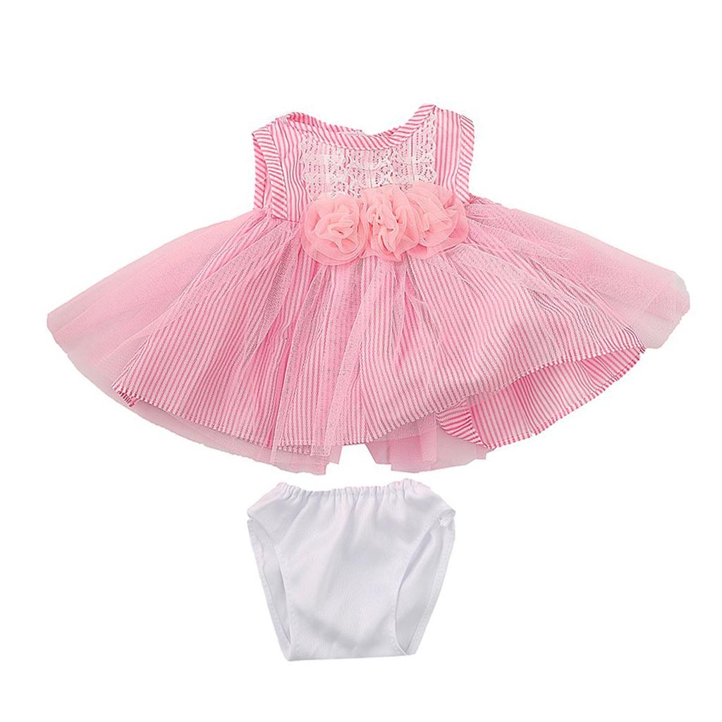 Pink Striped Rose Flower Lace Skirt Dress Outfit for 18 inch American Girl Doll