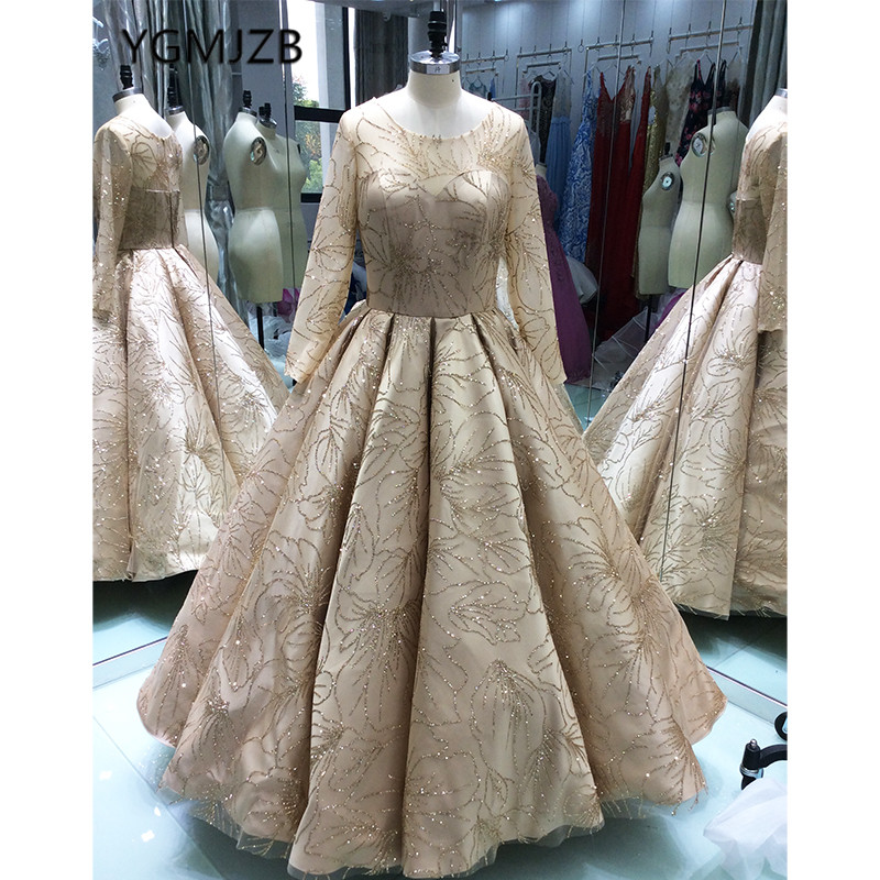 Luxury Ball Gown 2018 Long   Evening     Dresses   Glitter Sequined Sparkly With Long Sleeves Arabic Women Formal   Evening   Prom Gowns