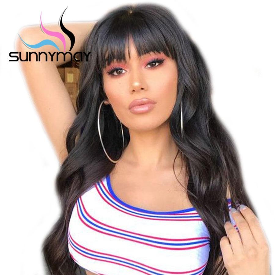 Sunnymay 180% плотность полный шнурок человеческих волос парики с челкой бразильского волос парики отбеленные узлы волнистые полные парики шнур