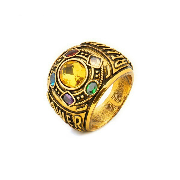 Avengers Infinity War Thanos Infinity Gauntlet Power Cosplay Alloy Ring Jewelry Golden brick revenge ring