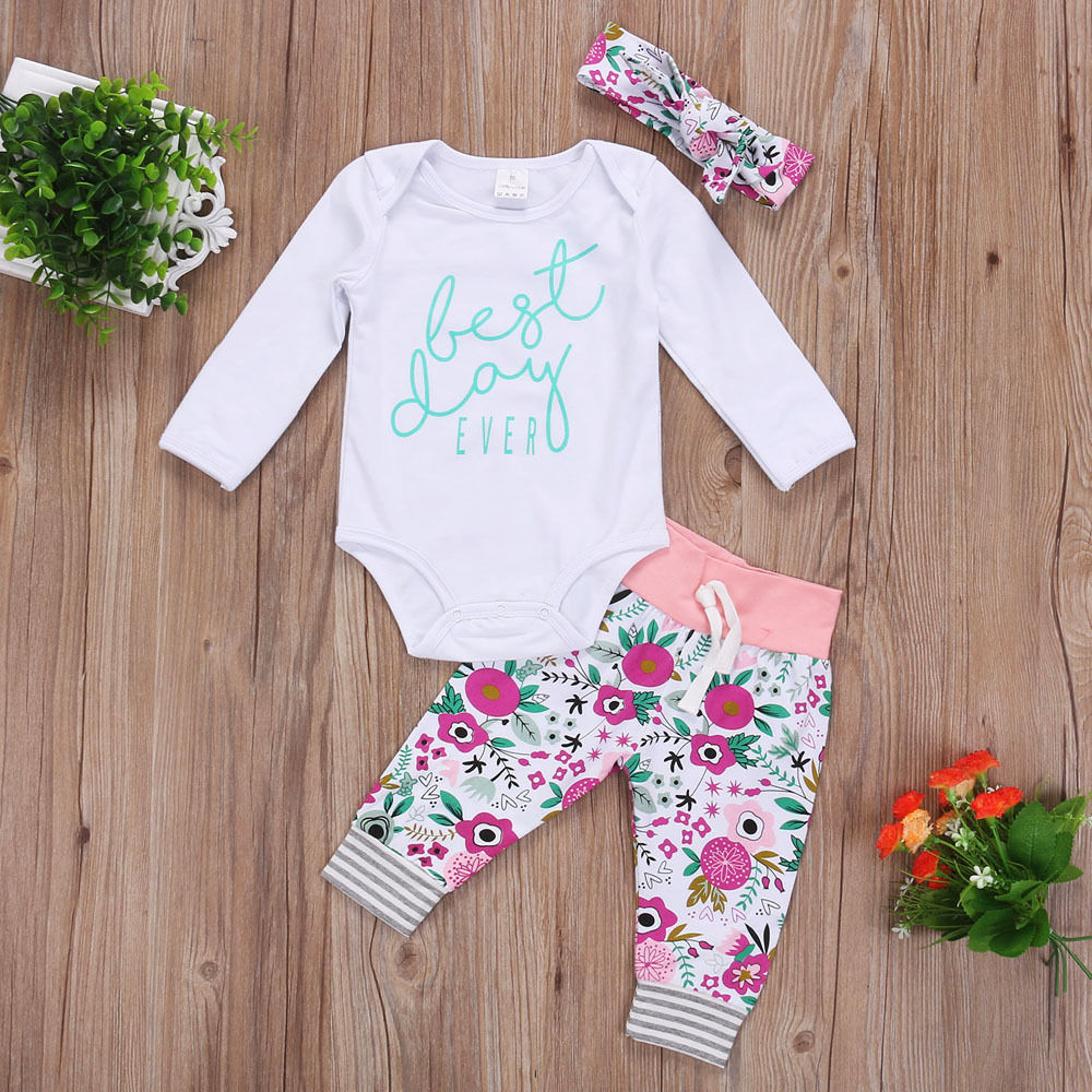 3PCS Newborn Baby Clothing 2017 New Letter Print Long Sleeve Cotton Romper Bodysuit+Floral Pant Headband Outfit Children Clothes 2017 floral baby romper newborn baby girl clothes ruffles sleeve bodysuit headband 2pcs outfit bebek giyim sunsuit 0 24m