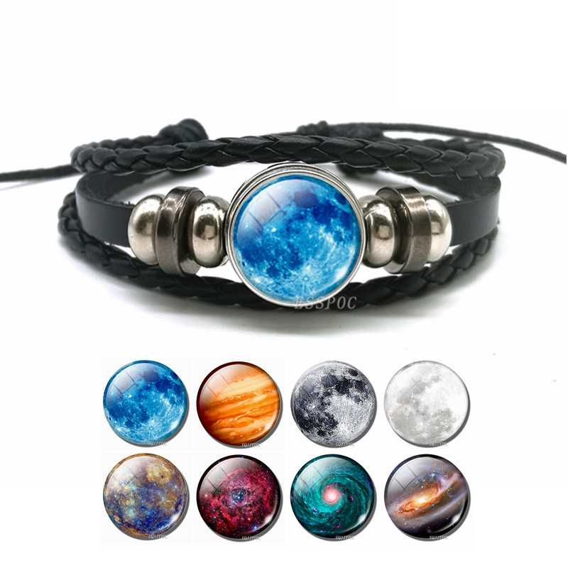 Glow In The Dark Full Moon Charm Leather Bracelet Fashion Universe Jewelry Galaxy Planet Bracelet Men Women Fashion Gifts