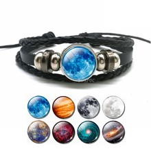 Glow In The Dark Full Moon Charm Leather Bracelet Fashion Universe Jewelry Galaxy Planet Bracelet Men Women Fashion Gifts(China)