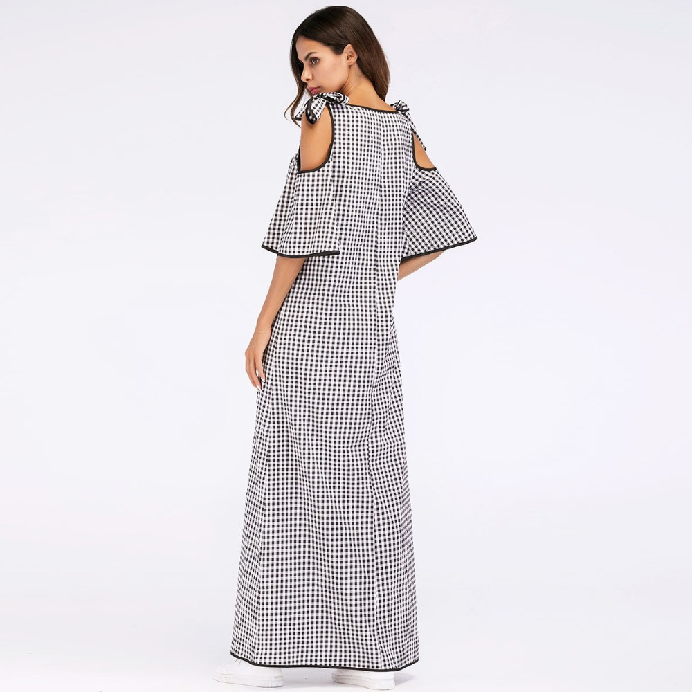 De Gray Ramadán Lazo Frío Vestidos Siskakia Plaid Hombro 2018 Diseño Para Vendaje Verano Étnico Maxi Vestido Mujeres Bordado Largo UqnwX6