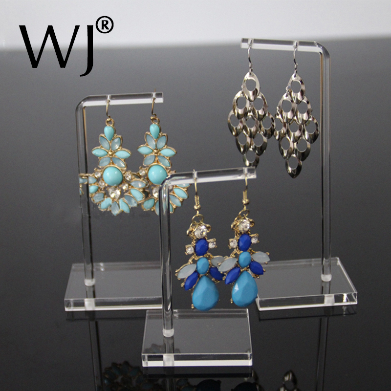 3pcs/lot Clear Acrylic Jewelry Earrings Display Stand Rack Showcase 2 Holes Hanging Earring Holder Organizer Photography Prop