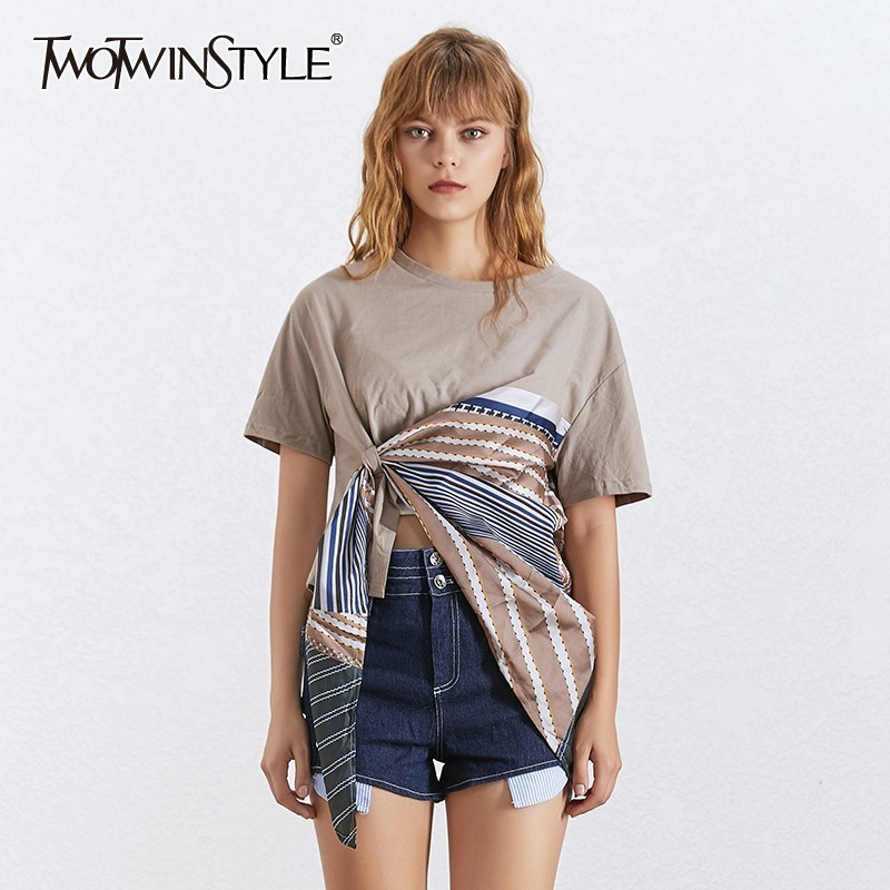 TWOTWINSTYLE Asymmetrical T-shirt For Women O Neck Short Sleeve Irregular Hit Color T-shirts Female Fashion Clothing 2020