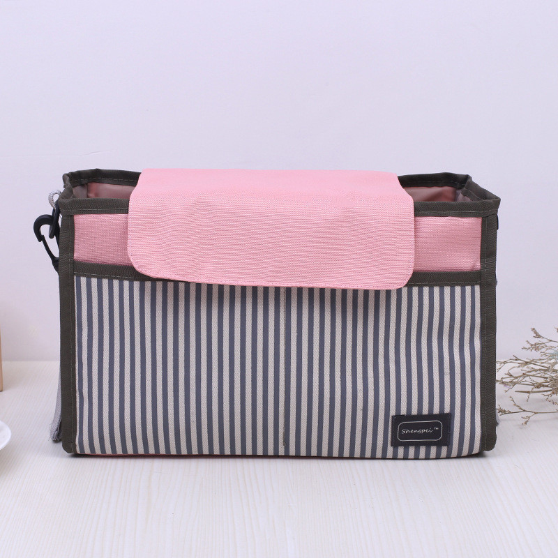 Striped Baby Stroller Accessories Holders And Extra Storage For Mom/Dad Waterproof Stroller Organizer Bag With Cup