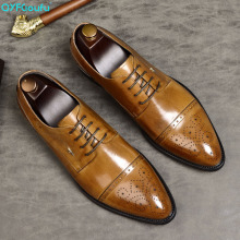 QYFCIOUFU Genuine Leather Mens Formal Shoes Oxford Carving 2019 Dress Wedding Brogues US 11.5