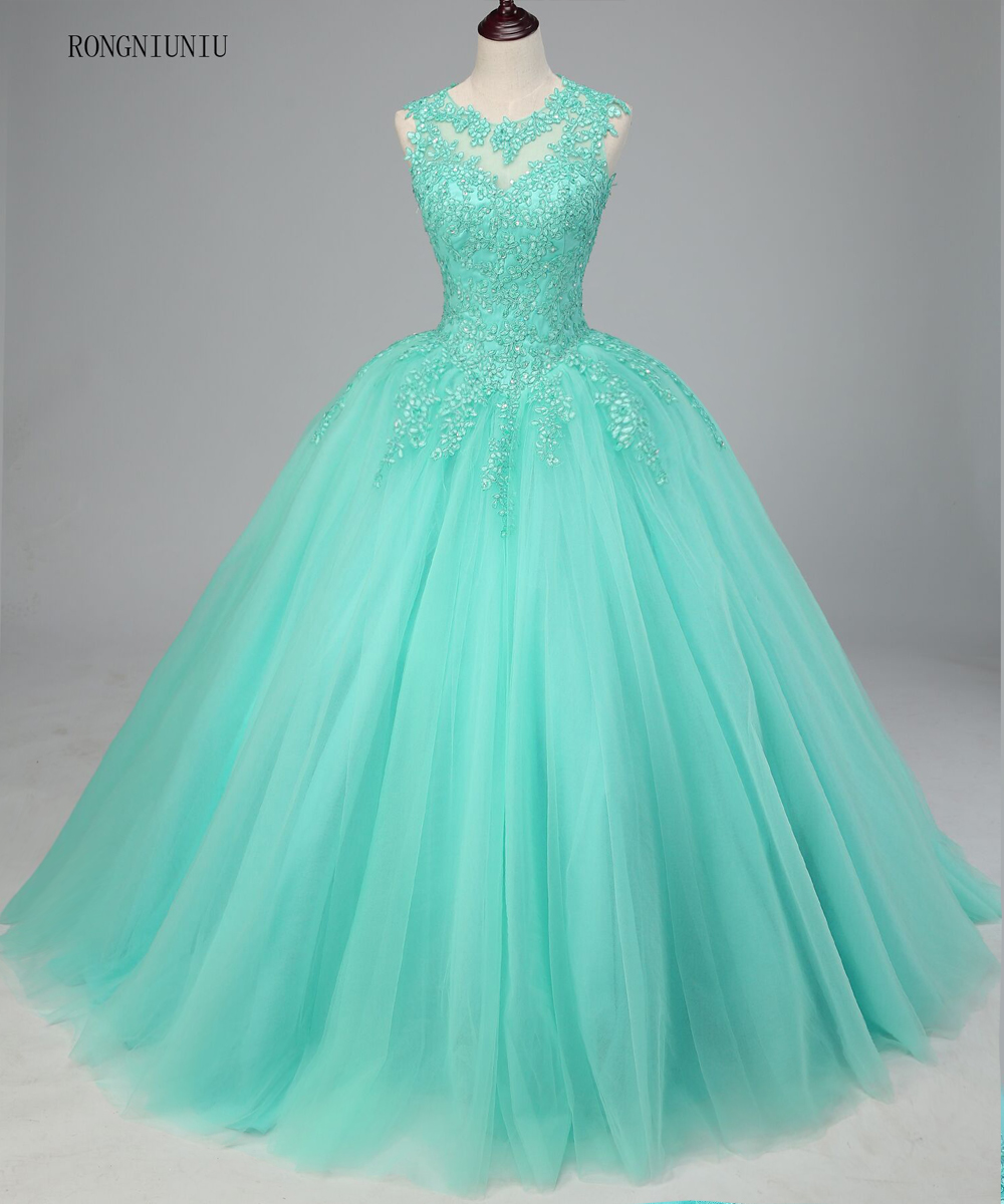 Mint Green Quinceanera Dresses 2019 Tulle  Appliques Vestidos De 15 Anos Sweet 16 Dresses Debutante Gowns Dress For 15 Years Накомарник