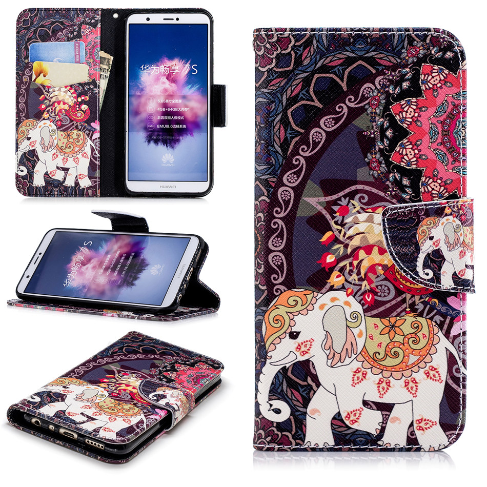 Card Slot Cover Case For Huawei Enjoy 7s Nova 3i P10Lite P30 P20 Pro Honor 10 Lite 8C 7X 8 Capa Wallet Leather Fundas Coque D07Z in Flip Cases from Cellphones Telecommunications