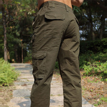 Cotton Outdoor Anti-UV Sports Camping Hunting Pants Men's Multi-pocket Tooling Travel Cycling Mountaineer Straight Pants Washed