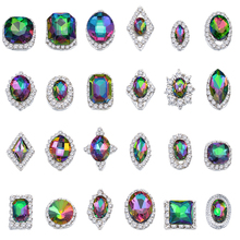100PCs Charm Alloy AB Side Rhinestones 3D Nail Art Decoration Shiny Crystal Diamond Jewelry DIY Tools LMPX