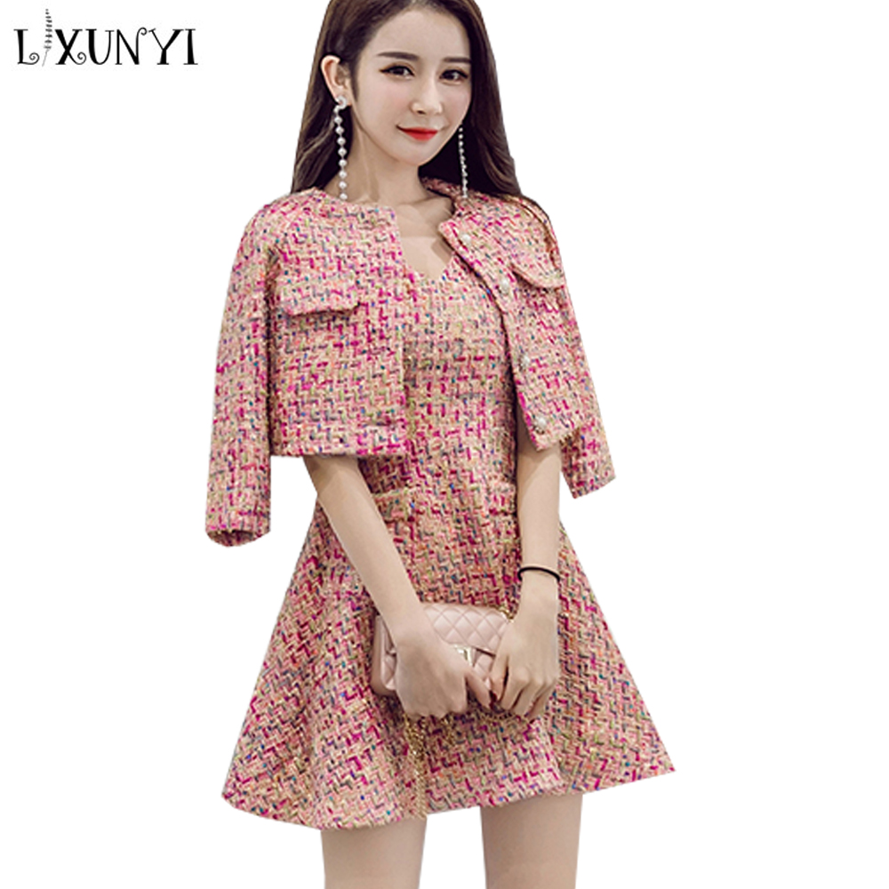 Picture Deux 2 Robe Costume Tweed Manches Mince Ensembles Color Sans Lxunyi Gilet Top Femmes Costumes Veste As Automne 2019 Dames Pcs Crop Ensemble Doux Pièces wZtXg4xq