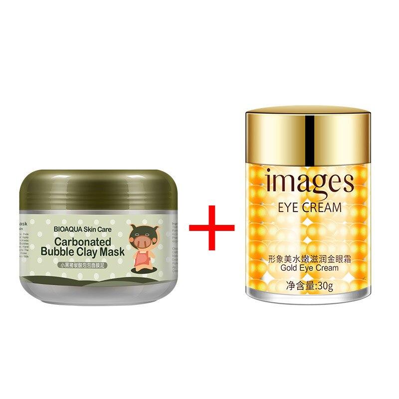 Kawaii Black Pig Carbonated Bubble Clay Face Mask + Images Gold Eye Cream Moisturizing Anti Aging Anti Wrinkle Lifting Skin Care 2 pcs bioaqua carbonated bubble clay