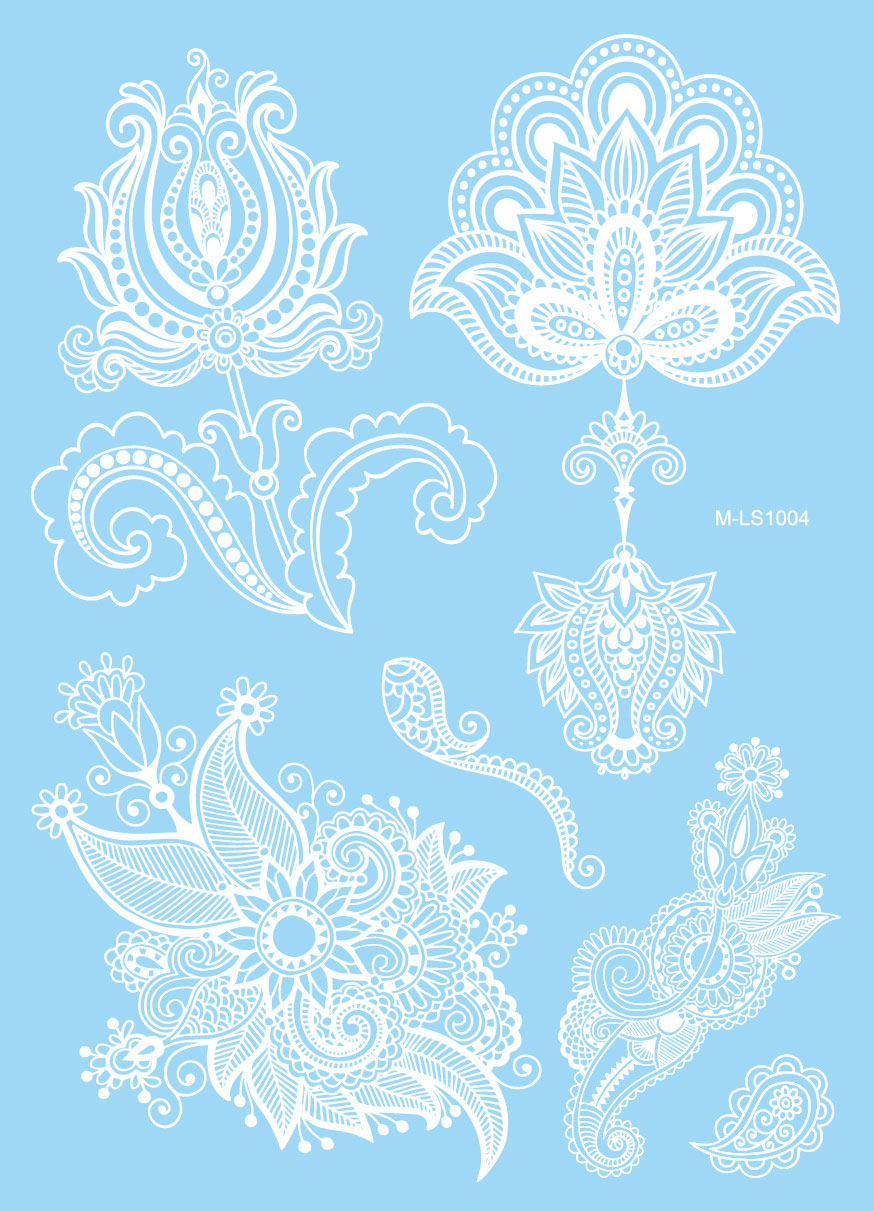 1pc Tatouage Taty White Henna Tattoo Stickers Lace Mehndi Hj016 Bracelets Totem Body Art Large Henna Temporary Tattoos Paste
