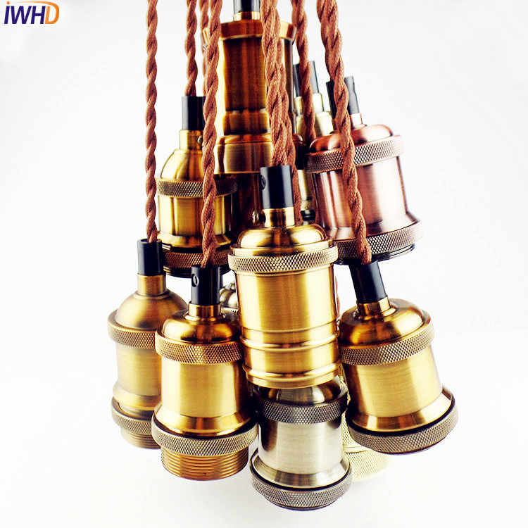 IWHD LED Edison Loft Retro Vintage Pendant Lamp Fixtures Industrial Pendant Light In American Country E27 Socket Lamp Holder