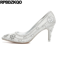 3 Inch Bling Wedding Shoes Bridal Women Pointed Toe High Heels White Scarpin Size 4 34