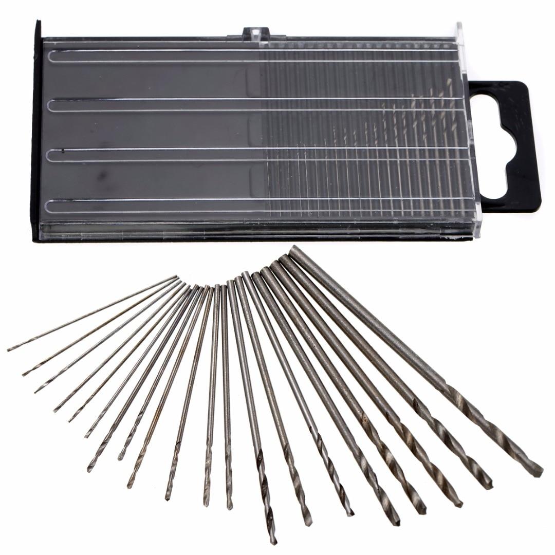 20pcs Precision Mini Micro HSS Twist Drill Bits Woodworking Tools Kit Set + Box 0.3-1.6mm