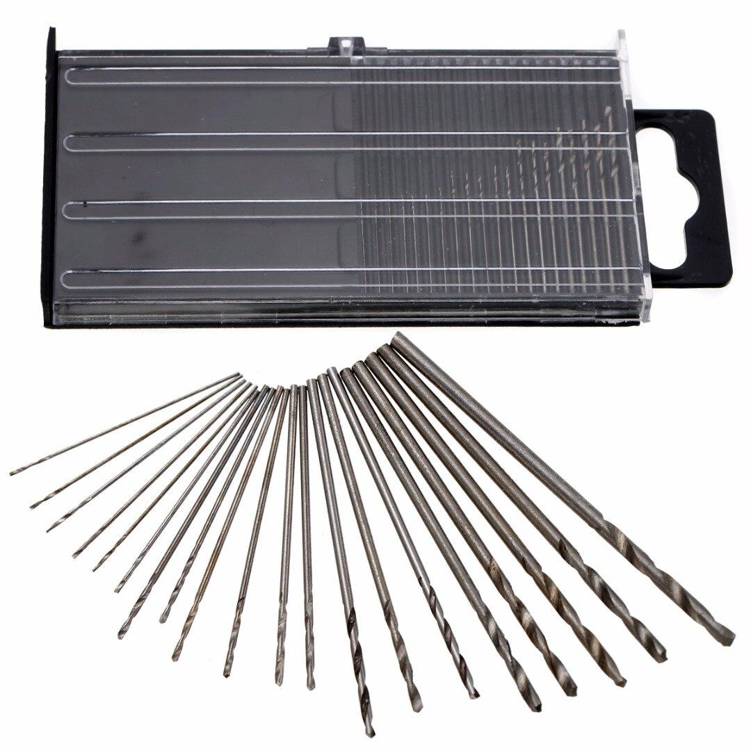 цена на 20pcs Precision Mini Micro HSS Twist Drill Bits Woodworking Tools Kit Set + Box 0.3-1.6mm