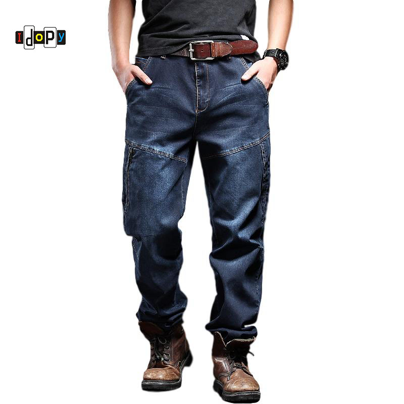Idopy Men`s Casual Motorcycle Workwear Zipper Pockets Army Military Tactical Denim Biker Cargo Jeans Pants For Men Plus Size