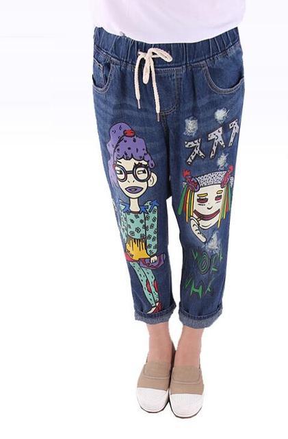df852d4c30 Mulheres Coreano Dos Desenhos Animados Personalidade Buraco Soltas Calças  Jeans menina Personagem Impressão Elástico Na cintura