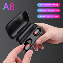 A8 TWS Touch Control Bluetooth Earphones HD Stereo Wireless Headphones Noise Cancelling Gaming Headset with 3500mAh Charge Case